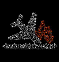 bright mesh 2d airplane crash with flash spots vector image