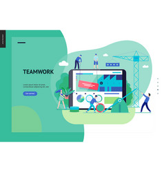 Business series - teamwork and collaboration web vector