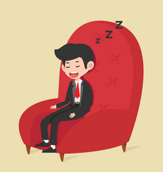 Businessman sleeping in red chair vector