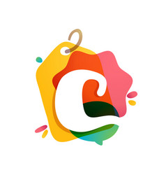 c letter logo with sale tag icon watercolor vector image