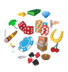 casino cartoon icons set vector image