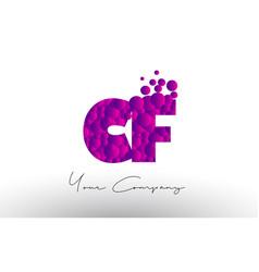 Cf c f dots letter logo with purple bubbles vector