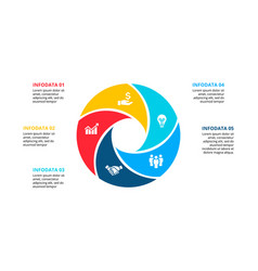 Circle element for infographic with 5 options vector