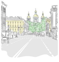 Cityscape wide avenues vector