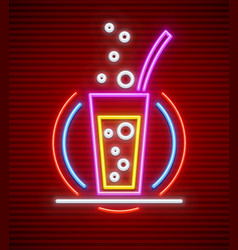cocktail bar neon sign glass vector image