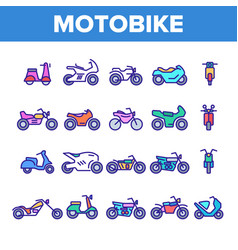 Color motorbike thin line icons set vector
