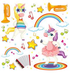 colourful unicorn music theme vector image