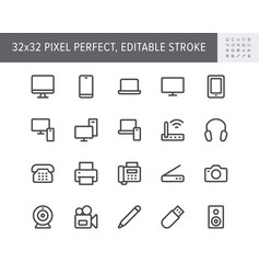computer devices simple line icons vector image