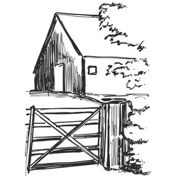 Country house rural landscape sketch drawing vector