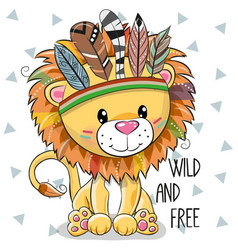 Cute cartoon tribal lion with feathers vector