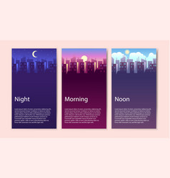 Different times day concept banner set vector