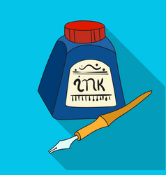 Dip pen with inkwell icon in flat style isolated vector