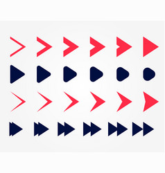 Directional arrow pointers set in two colors vector