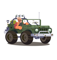 driver man controls suv car vector image