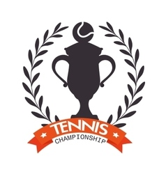 emblem tennis champioship trophy ball label vector image