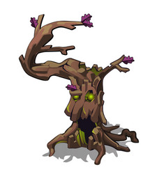 Fantasy dark withered deciduous tree isolated on vector