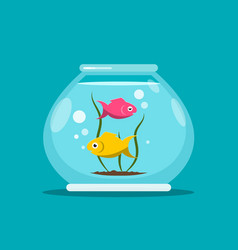Fish in fishbowl aquarium vector