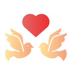flying pigeons with heart flat icon love birds vector image