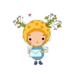Forest Fairy and letter on a white background vector