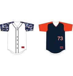 Full button baseball raglan sleeves jerseys vector