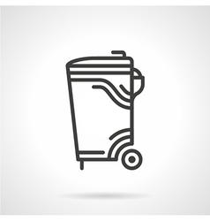 Garbage bin black line icon vector