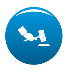 Gavel in hand icon blue vector