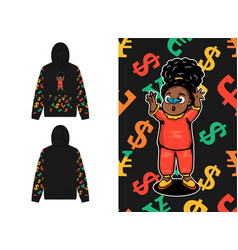 Girl with blue butterfly hoodie with money sign vector