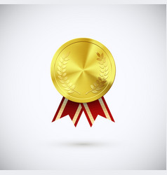 golden medal red ribbon gold award symbol of vector image