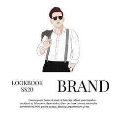 handsome hand drawn guy in stylish elegant vector image