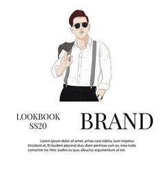 Handsome hand drawn guy in stylish elegant vector