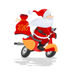happy santa claus with a gift sack riding a vector image