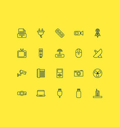 Hardware icons set with socket printer vector