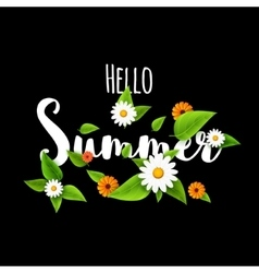 Hello summer lettering typography with flowers on vector image