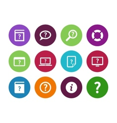 Help and faq circle icons on white background vector