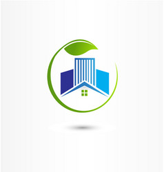 House and buildings energy efficient icon logo vector