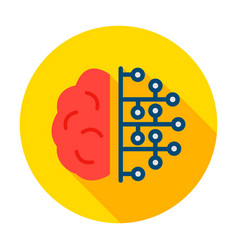 human brain microchip circle icon vector image
