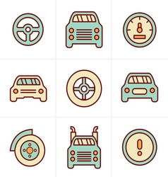 Icons Style Car Icons Set Design vector