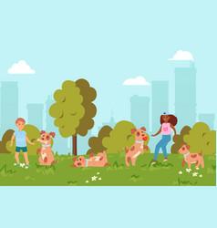 in summer children play puppy in park friendship vector image