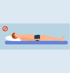 incorrect man sleep position banner horizontal vector image
