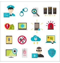 Internet safety icons virus cyber attack vector