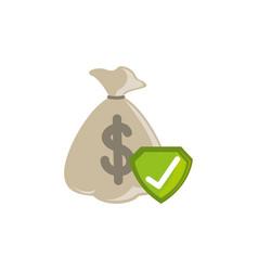 Isolated money bag icon flat design vector
