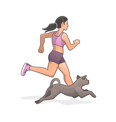 Jogging with dog vector