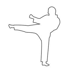 Karate man the black color icon vector