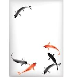 Koi carps pond vector