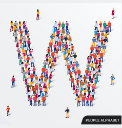 large group people in letter w form human vector image