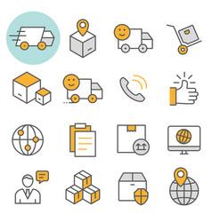 logistics flat line icon set vector image