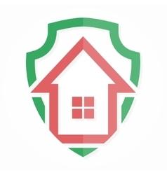 logo house on shield vector image