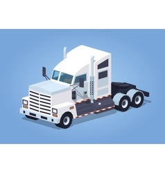 Low poly heavy american white truck vector image