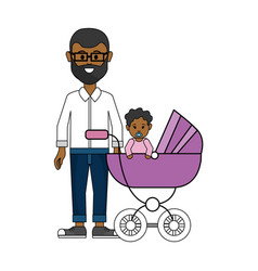 Man with glasses and his baby icon vector