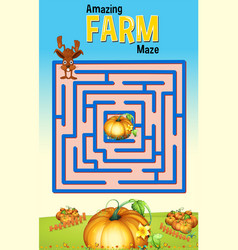 Maze game template wtih rabbit and pumpkin farm vector